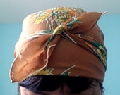 Vintage 60s 70s Light Brown Floral Pure Silk Square Scarf / Hippie Boho Head Wrap Hair Tie Up Headscarf / Orange Gold Ivory Green Flowers