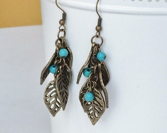 Antique Bronze Leaf with Turquoise Bead Earrings, Rustic Antique Bronze Earrings E73