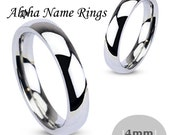Hand Stamped Stainless Steel Ring 4mm Promise Ring ANR-R001-4