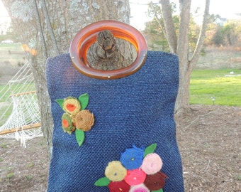 P000136 Vintage Navy Blooming Multicolored Rolled Rosettes Oval Tortoise Handle lined Carpet Tote Hand Bag -by God Oddities Decor on ETSY I