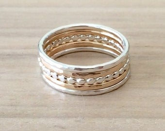 Gold and Silver Rings, Mixed Metal Stacking Set, 14k Gold Filled Rings, Sterling Silver Rings, Sterling Silver Bead Ring, Etsy Gift Ideas