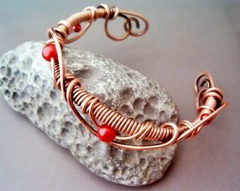 Bracelet Wire Wrapped Copper - Jewelry Handmade Bracelet Hammered Copper Wire Wrap Bracelet