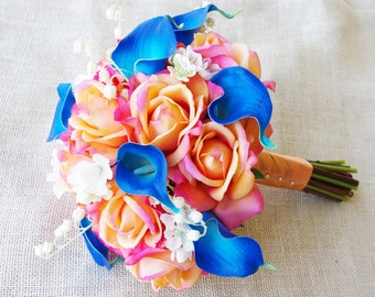 Wedding Natural Touch Coral Orange Roses and Blue Callas Silk Flower Bride Bouquet - Almost Fresh