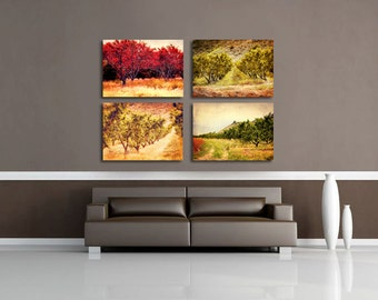 Canvas Wraps, Canvas Set of 4, Canvas Wall Art, Country Decor, Rustic Wall Decor, Living Room Wall Art, Farmhouse Art - Orchard Canvas Set