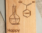 Geek Cards - Chemistry Compound Wood Card - Wedding Anniversary