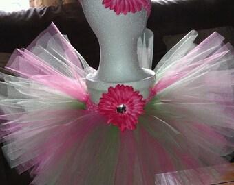 Customized Flower Embellished girls tutu with matching headband