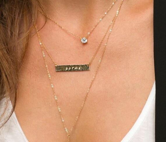 Delicate Cz Necklace Tiny Diamond Pendant 14k By