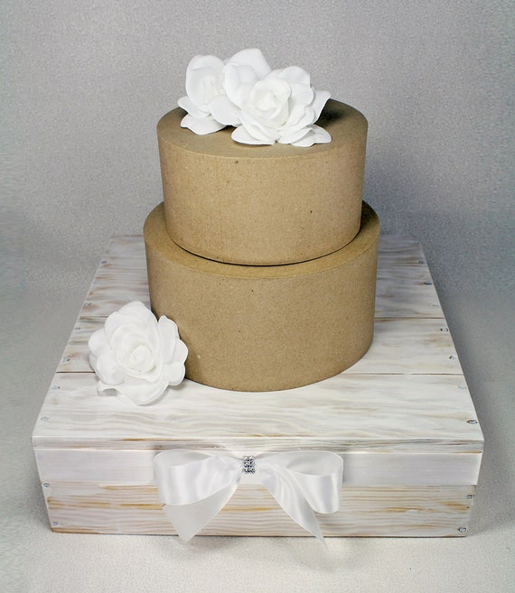 Rustic Chic Wedding Cakes: White Rustic Chic Square Wedding Cake Stand. By DazzlingGRACE