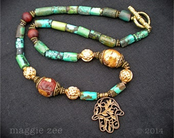Turquoise and Bronze Hamsa Necklace
