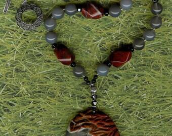 A Run in the Sun - Succor Creek Jasper Horse Pendant, Grey Agate, Mahogany Obsidian, Hematite, Sterling Silver Necklace