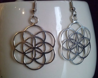 seed of life earrings in silver 925 - sacred geometry
