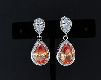 zircon blush earrings , bridal peach earrings , cz champagne earrings , silver bridal blush earrings , peach bridesmaids earrings , weddings