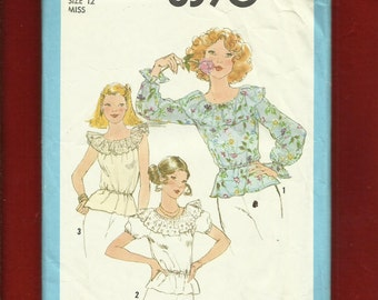 1977  Simplicity 8390 Ruffled Neck Country Western Tops Size 12