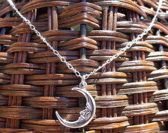 Sterling Silver Necklace, Moon Pendant Necklace, Crescent Moon Pendant, Sterling Crescent Moon Necklace