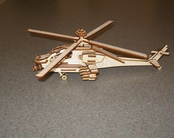 Small Apache helicopter model plywood laser cut model kit or assembled model