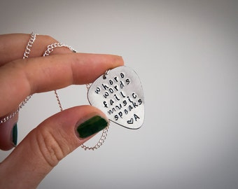 Guitar pick necklace with personalized words, where words fail music speaks, initials, gift ideas,music lovers,punk rock,custom saying,quote
