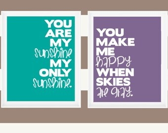 "Printable 8x10 Prints ""You Are My Sunshine"" Quote"