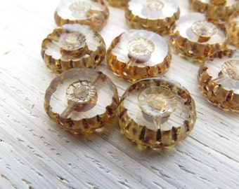 Transparent Cogs - 13mm transparent carved coins (6), czech glass beads, czech glass, picasso finish, disc beads