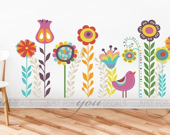 Nursery Wall Decal - Flower Wall Decal - Children's Room Wall Decal - Abstract - Wall Sticker - Custom Decal Wall Graphics - 06-0004