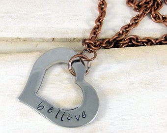 Believe, Heart Necklace, Hand Stamped Necklace