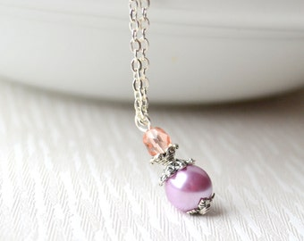 Purple and pink bridesmaids necklace Bridesmaids gifts jewelry bridesmaids jewelry Flower girl jewelry Purple weddings Prple bridesmaids