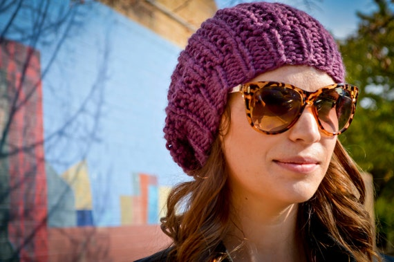 Womens Hand Knit Slouchy Hat in Purple Fig or YOUR COLOR