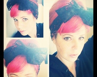 Black Lace Bow Headwrap Bandana Hair Bow Tie 1950s Vintage Style - Rockabilly - Pin Up - For Women, Teens