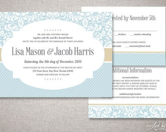 "Shabby Chic Damask ""Lisa"" Wedding Invitation Suite - Vintage Floral Pattern Invite - Custom Digital DIY Printable or Printed Invitations"