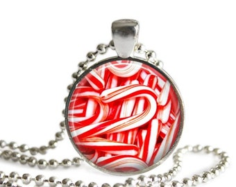 Candy cane necklace Christmas candy pendant peppermint candy red and white holiday jewelry.
