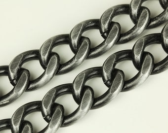 3ft Gunmetal Chain, Chunky Chain, Twisted Curb Chain, Aluminum Chain, 20x25mm, CB002.GU