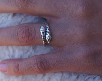 50% OFF  - Sterling Silver Snake Ring - Couples Eternity Ring - Double Wrap Snake Ring - Open Ring - His & Her Ring - Hypoallergenic Ring