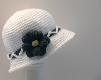 Crochet Pattern - Womens Hat - Sun Hat - Summer Hat - Flower, Brim, Sizes Baby, Toddler, Girls, Teen, Ladies, Large, Meadowvale Studio #115