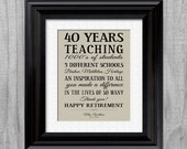 Retirement Gift Teacher Personalized CUSTOM Teachers Appreciation Inpirational Print Unique Idea YOUR WORDS Colors