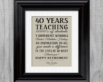 Teacher RETIREMENT Gift Personalized Inpirational Print
