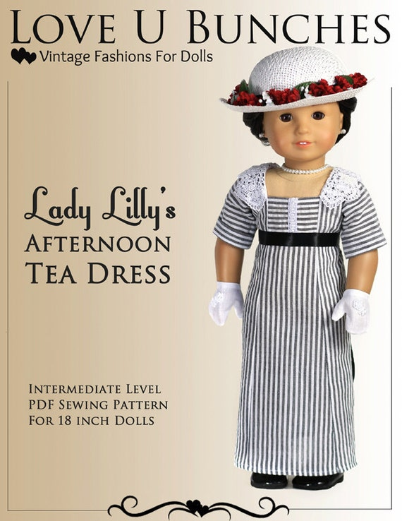 Pixie Faire Love U Bunches Lady Lilly's Afternoon Tea Dress Doll Clothes Pattern for 18 inch AG Dolls - PDF