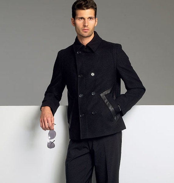 MENS PEACOAT PATTERN Double Breasted Peacoat Jacket & Fitted