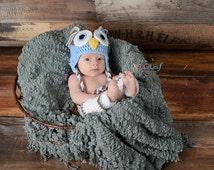 Baby Owl Laplander Hat & Leg Warmers Set - 0 to 3 Months, 3 to 6 Months, 6 to 12 Months - Light Blue, Taupe - Woodland, Animal