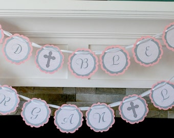 Pink and Gray Baptism/First Holy Communion Banner by Lillypaul Designs