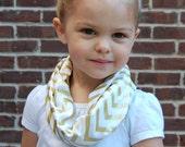 Gold Metalic Chevron Toddler Infinity Scarf