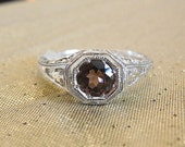 Unusual  Color Tourmaline in Filigree Sterling Silver Mounting