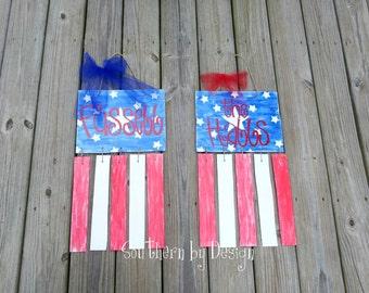 AMERICAN FLAG Wooden Door Hanger, 4th of July, Veterans Gift, Door Sign, Door Decoration, Patriotic, Holiday Decor