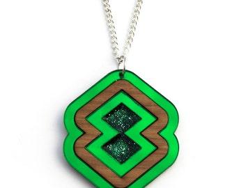 Green Glitter Resin Geometric Long Necklace
