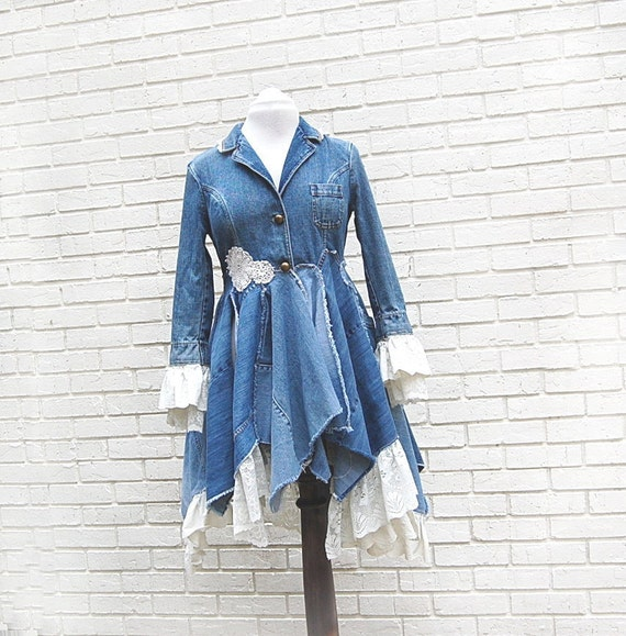 Boho Denim Jacket Coat Lace Blue Jean Long Tattered Eco