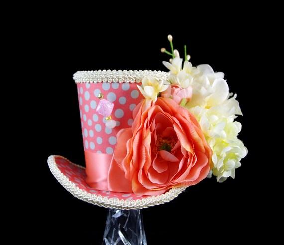 Coral, Cream, and Gray Polka Dot Flower Garden Large Mini Top Hat Fascinator, Alice in Wonderland, Mad Hatter Tea Party, Derby Hat