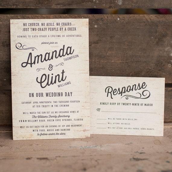 Rustic Wedding Invitation, Wedding Invitation, Woodland Wedding Invitation, Tree Wedding Invitation, Wedding Invites, eco - The Birchbark