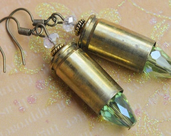 Bullet earrings. Freedom earrings. 9 mm bullet earrings. American earrings. Gun earrings. Bullet casing earrings.