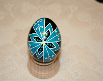 Black and Turquoise DAD Ukrainian Egg