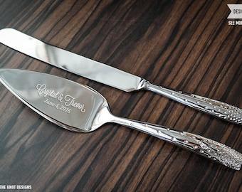nambe tilt dazzle cake knife and server set custom engraved wedding cake server and knife set. Black Bedroom Furniture Sets. Home Design Ideas