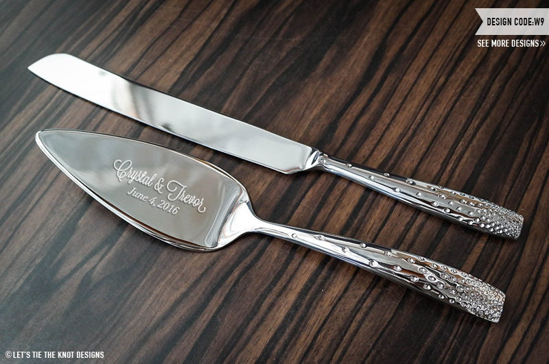 personalized nambe tilt dazzle cake knife and server set. Black Bedroom Furniture Sets. Home Design Ideas