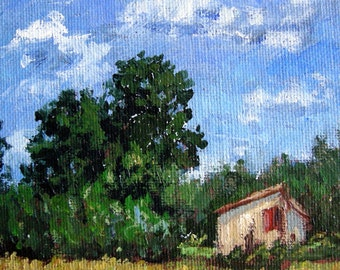 Italian Landscape original oil painting, impressionist, field, Tuscany, house, clouds, Sessa